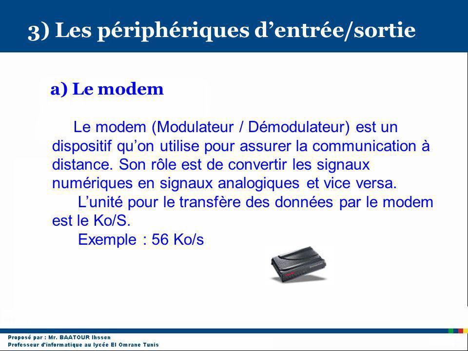 3) Les périphériques dentrée/sortie a) Le modem Le modem (Modulateur / Démodulateur) est un dispositif quon utilise pour assurer la communication à di