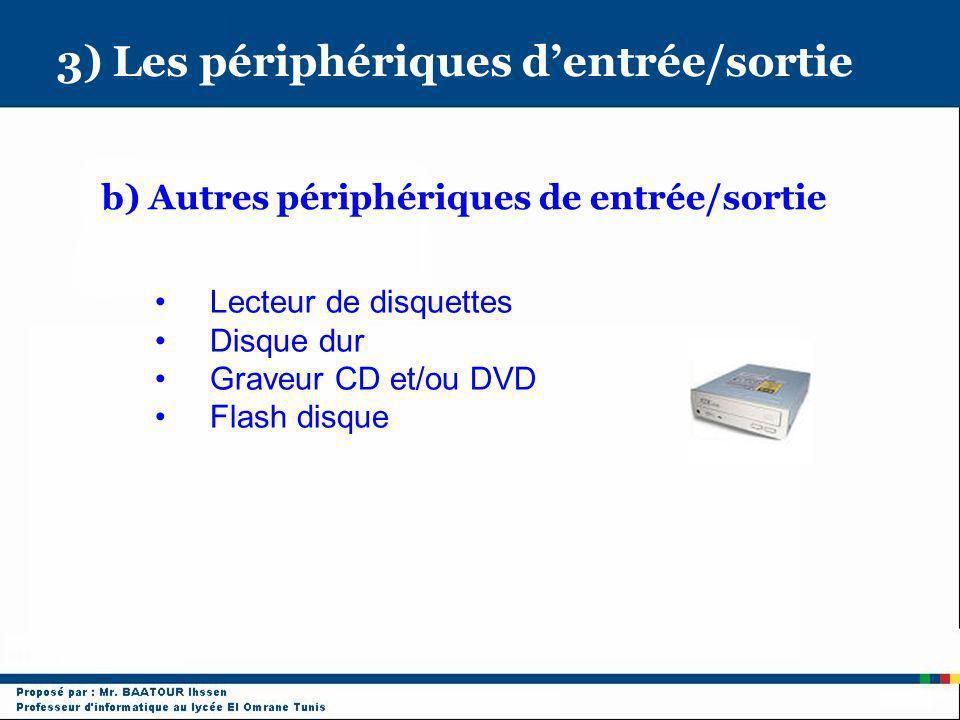 3) Les périphériques dentrée/sortie b) Autres périphériques de entrée/sortie Lecteur de disquettes Disque dur Graveur CD et/ou DVD Flash disque