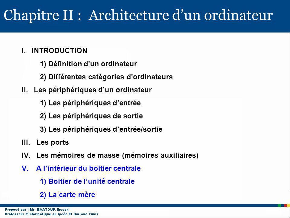 Chapitre II : Architecture dun ordinateur I. INTRODUCTION 1) Définition d'un ordinateur 2) Différentes catégories d'ordinateurs II. Les périphériques