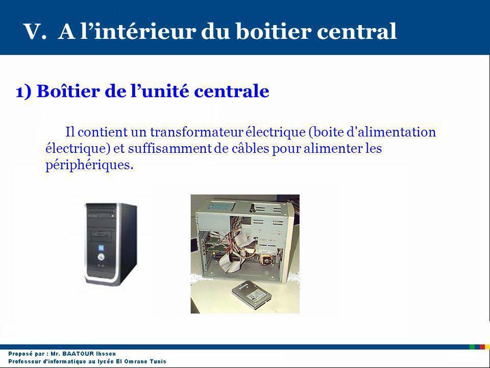 V. A lintérieur du boitier central Il contient un transformateur électrique (boite d'alimentation électrique) et suffisamment de câbles pour alimenter
