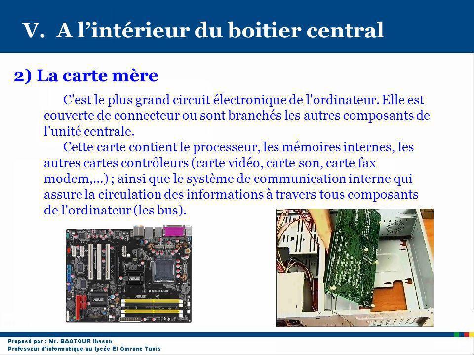 V. A lintérieur du boitier central C'est le plus grand circuit électronique de l'ordinateur. Elle est couverte de connecteur ou sont branchés les autr