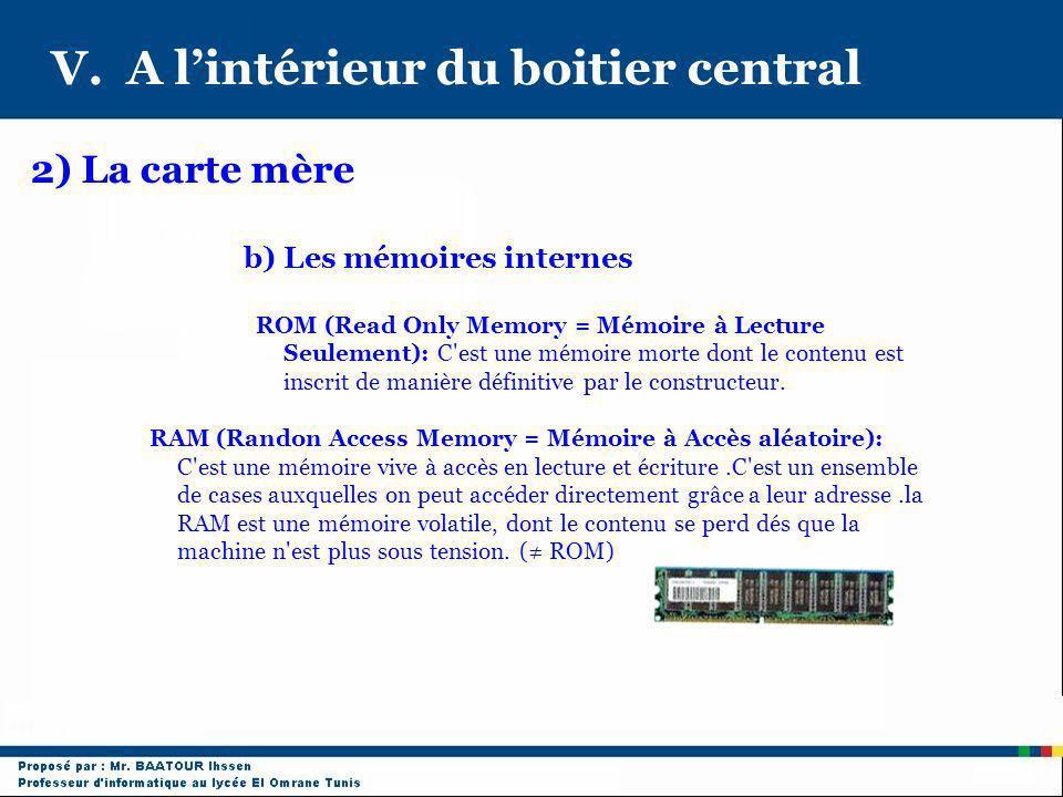 V. A lintérieur du boitier central 2) La carte mère b) Les mémoires internes ROM (Read Only Memory = Mémoire à Lecture Seulement): C'est une mémoire m