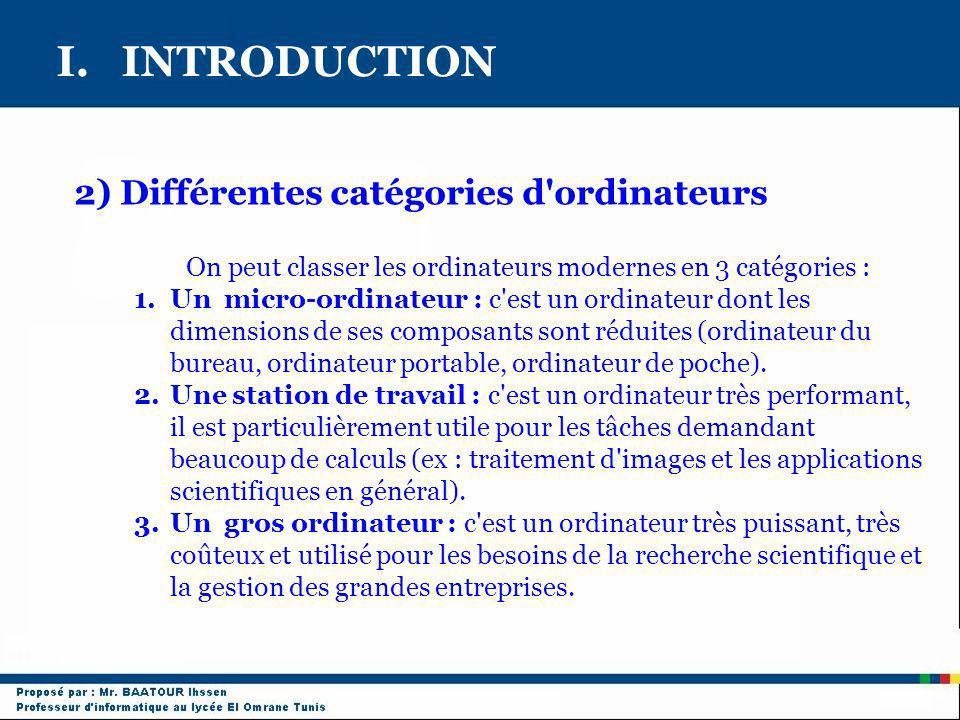 I. INTRODUCTION 2) Différentes catégories d'ordinateurs On peut classer les ordinateurs modernes en 3 catégories : 1.Un micro-ordinateur : c'est un or