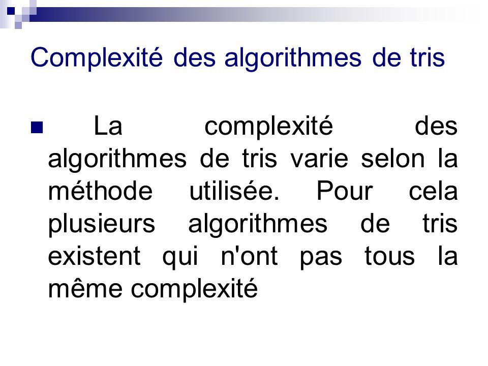 Complexité des algorithmes de tris La complexité des algorithmes de tris varie selon la méthode utilisée. Pour cela plusieurs algorithmes de tris exis