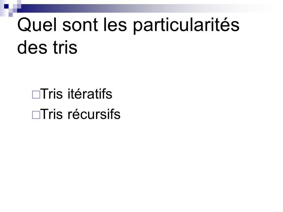 Quel sont les particularités des tris Tris itératifs Tris récursifs