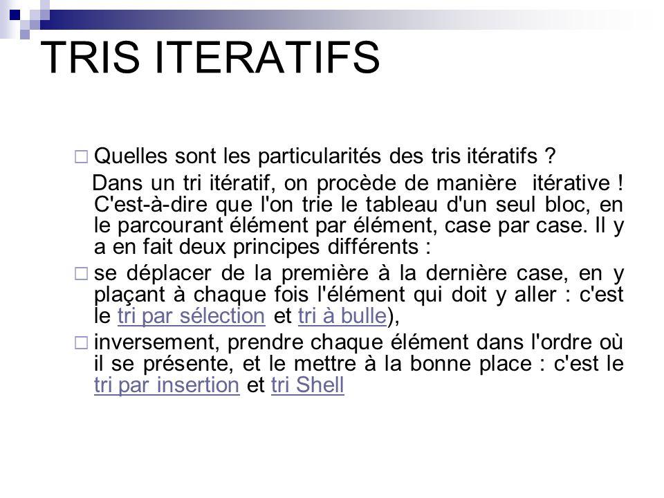 TRIS ITERATIFS Quelles sont les particularités des tris itératifs ? Dans un tri itératif, on procède de manière itérative ! C'est-à-dire que l'on trie