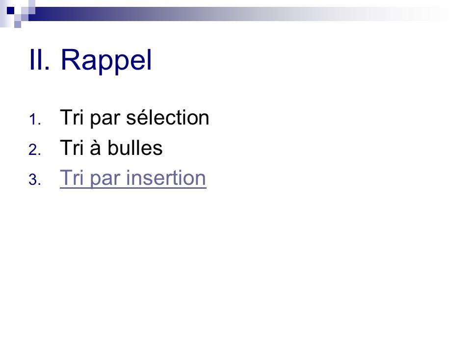 II. Rappel 1. Tri par sélection 2. Tri à bulles 3. Tri par insertion Tri par insertion