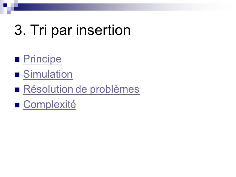 3. Tri par insertion Principe Simulation Résolution de problèmes Complexité