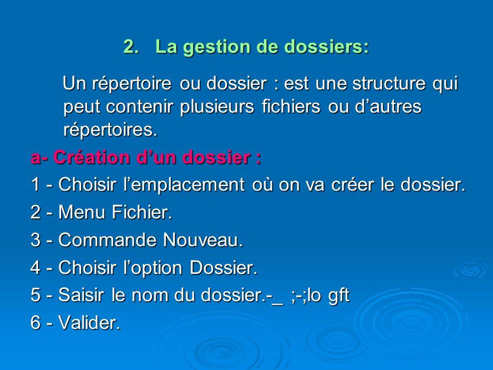 2. La gestion de dossiers: Un répertoire ou dossier : est une structure qui peut contenir plusieurs fichiers ou dautres répertoires. Un répertoire ou