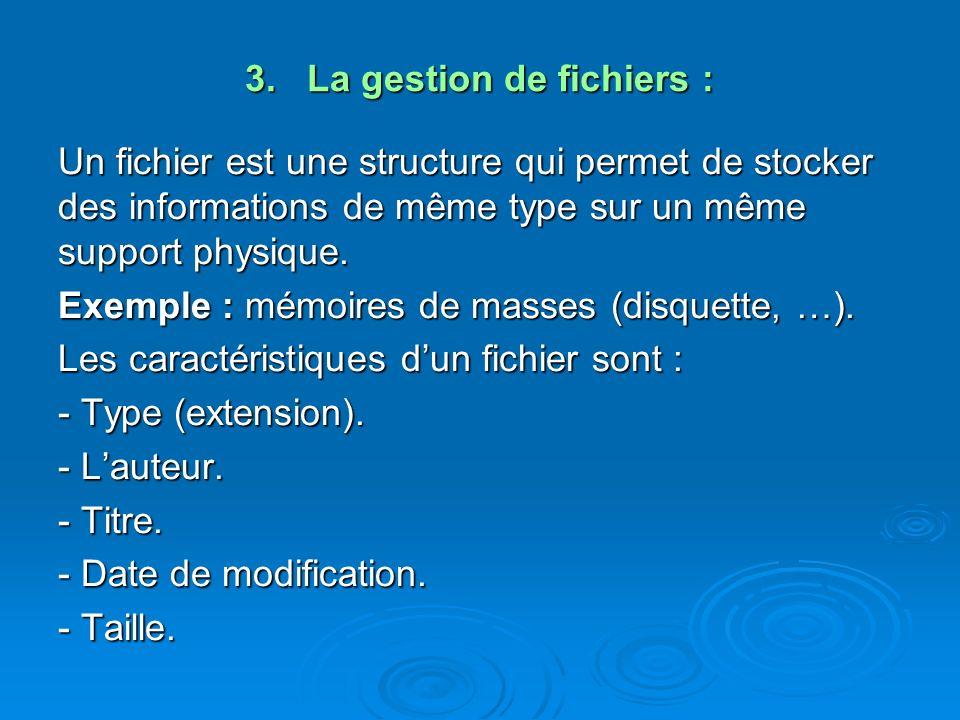 3. La gestion de fichiers : Un fichier est une structure qui permet de stocker des informations de même type sur un même support physique. Exemple : m