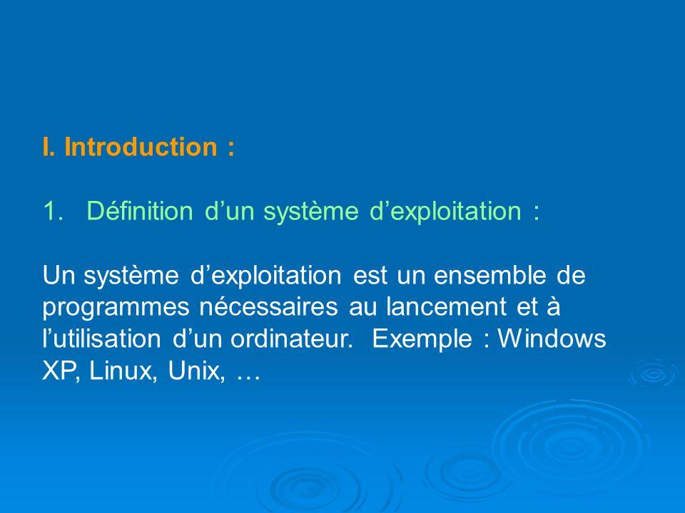 I. Introduction : 1. Définition dun système dexploitation : Un système dexploitation est un ensemble de programmes nécessaires au lancement et à lutil