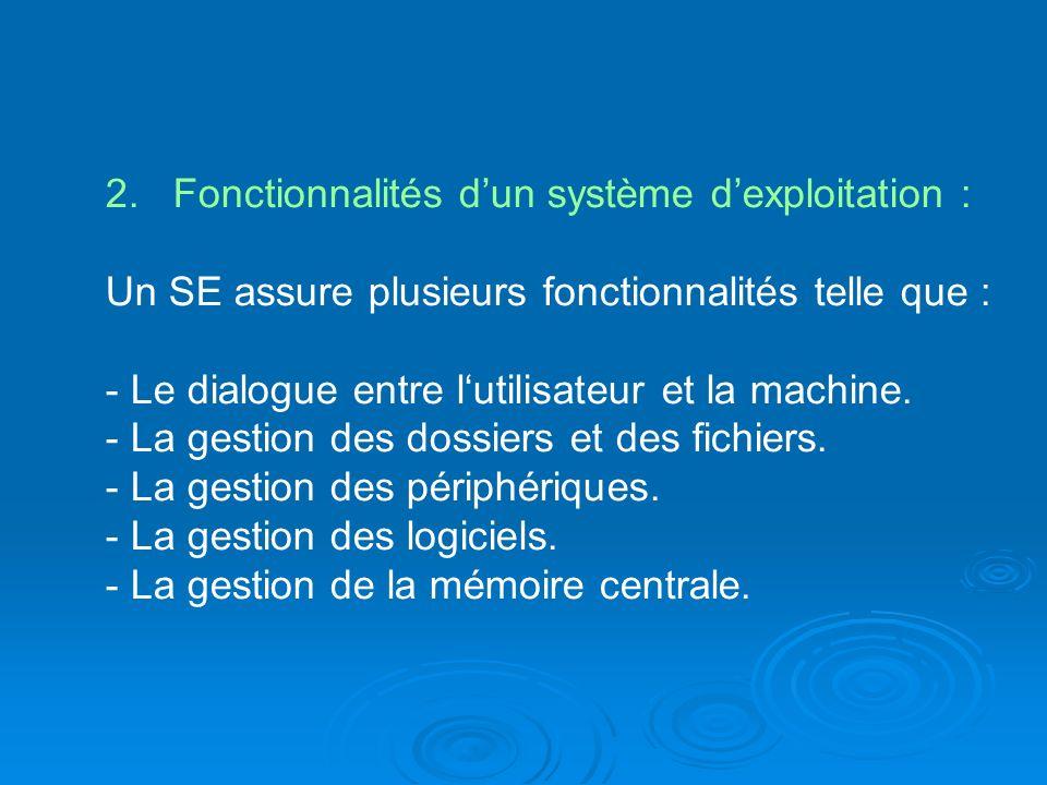 2. Fonctionnalités dun système dexploitation : Un SE assure plusieurs fonctionnalités telle que : - Le dialogue entre lutilisateur et la machine. - La
