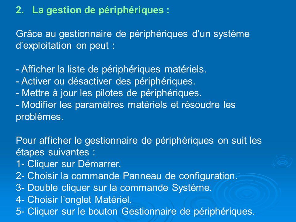 2. La gestion de périphériques : Grâce au gestionnaire de périphériques dun système dexploitation on peut : - Afficher la liste de périphériques matér