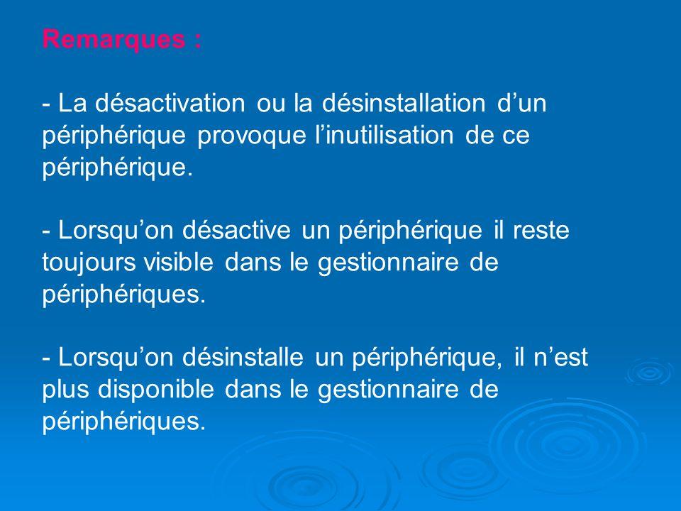 Remarques : - La désactivation ou la désinstallation dun périphérique provoque linutilisation de ce périphérique. - Lorsquon désactive un périphérique