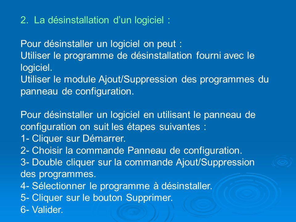 2. La désinstallation dun logiciel : Pour désinstaller un logiciel on peut : Utiliser le programme de désinstallation fourni avec le logiciel. Utilise