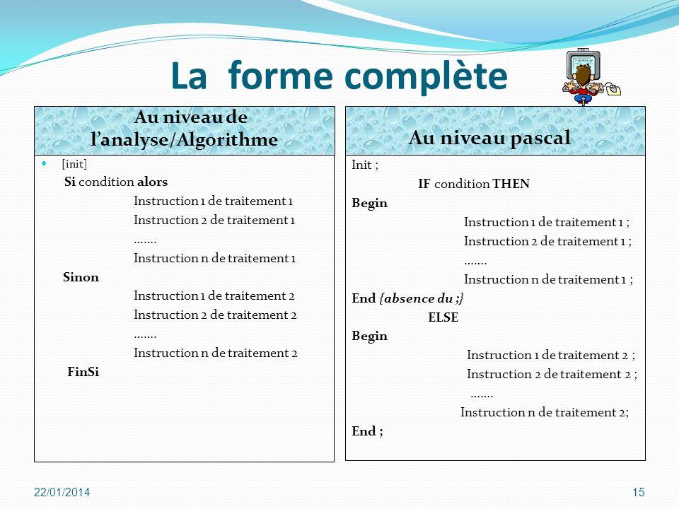 La forme complète [init] Si condition alors Instruction 1 de traitement 1 Instruction 2 de traitement 1 ……. Instruction n de traitement 1 Sinon Instru