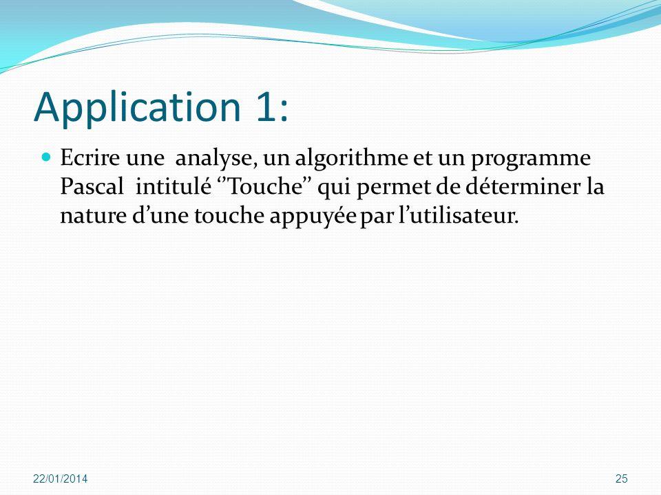 Application 1: Ecrire une analyse, un algorithme et un programme Pascal intitulé Touche qui permet de déterminer la nature dune touche appuyée par lut