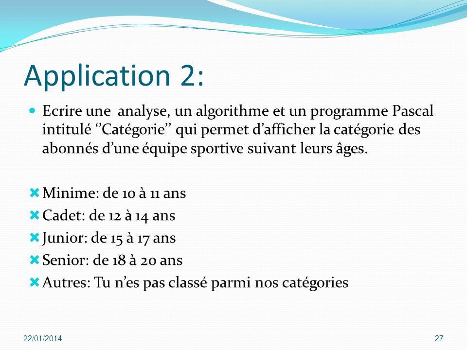 Application 2: Ecrire une analyse, un algorithme et un programme Pascal intitulé Catégorie qui permet dafficher la catégorie des abonnés dune équipe s