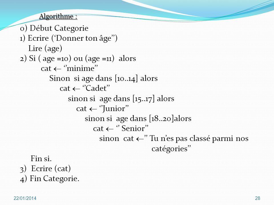 0) Début Categorie 1) Ecrire (Donner ton âge) Lire (age) 2) Si ( age =10) ou (age =11) alors cat minime Sinon si age dans [10..14] alors cat Cadet sin