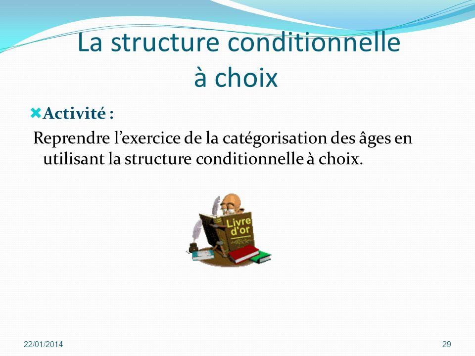 La structure conditionnelle à choix Activité : Reprendre lexercice de la catégorisation des âges en utilisant la structure conditionnelle à choix. 22/
