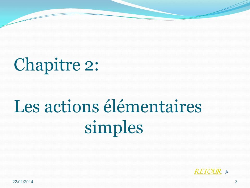 Chapitre 2: Les actions élémentaires simples 22/01/20143 Retour