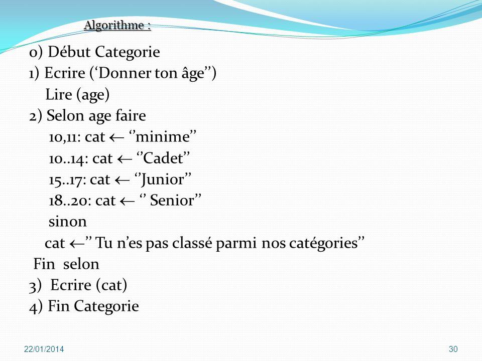 0) Début Categorie 1) Ecrire (Donner ton âge) Lire (age) 2) Selon age faire 10,11: cat minime 10..14: cat Cadet 15..17: cat Junior 18..20: cat Senior