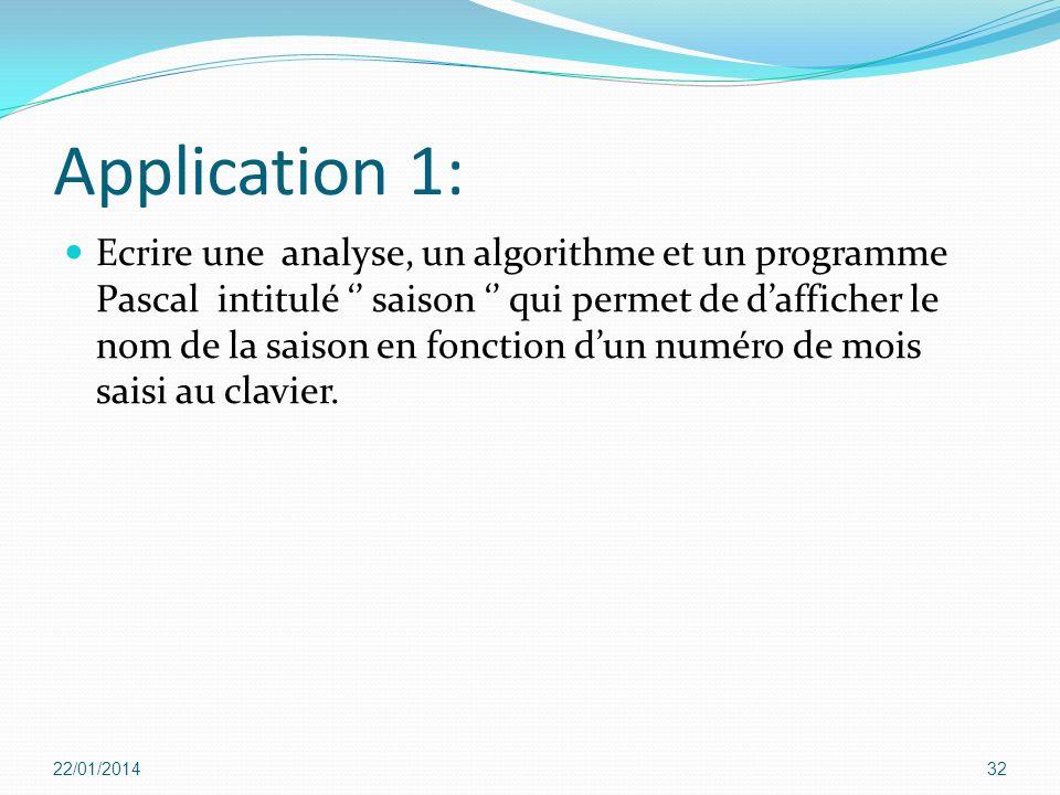Application 1: Ecrire une analyse, un algorithme et un programme Pascal intitulé saison qui permet de dafficher le nom de la saison en fonction dun nu
