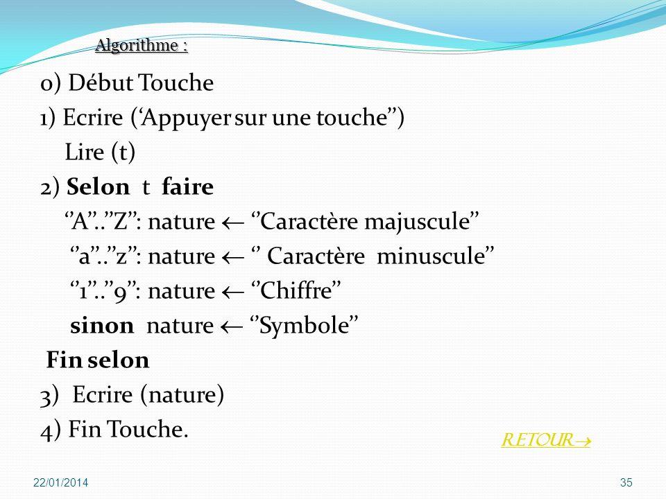 0) Début Touche 1) Ecrire (Appuyer sur une touche) Lire (t) 2) Selon t faire A..Z: nature Caractère majuscule a..z: nature Caractère minuscule 1..9: n