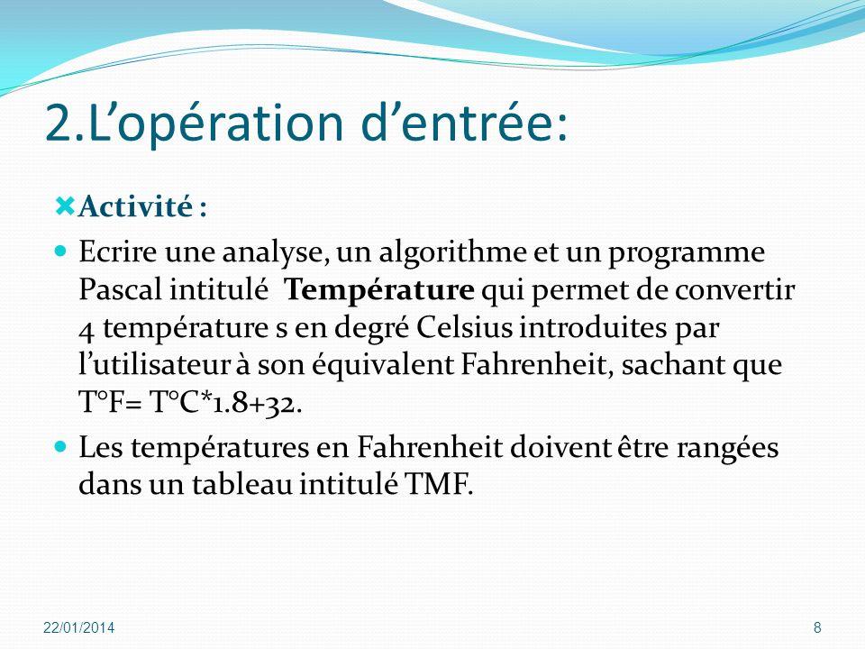 2.Lopération dentrée: Activité : Ecrire une analyse, un algorithme et un programme Pascal intitulé Température qui permet de convertir 4 température s