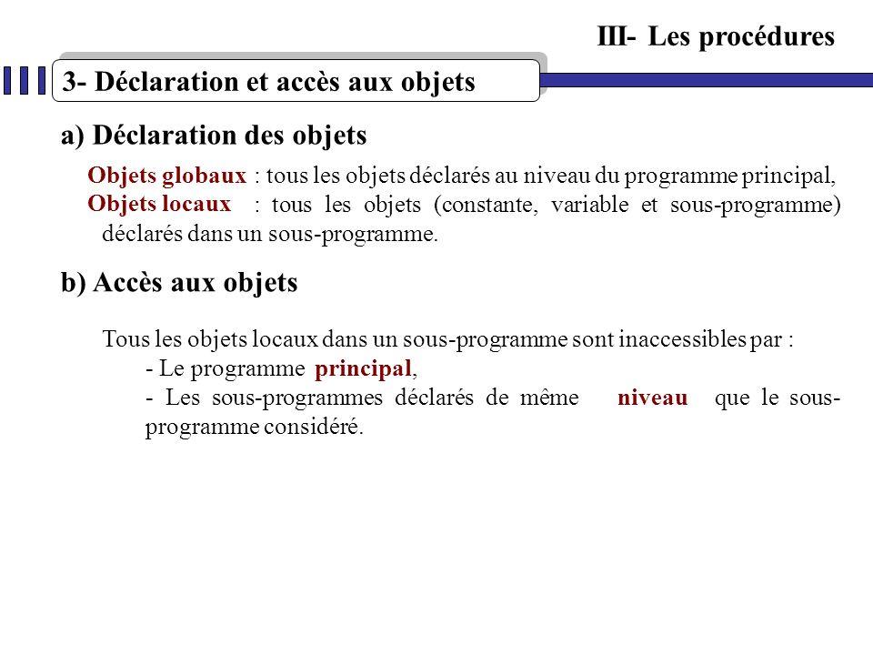 3- Déclaration et accès aux objets III- Les procédures a) Déclaration des objets : tous les objets déclarés au niveau du programme principal, : tous l