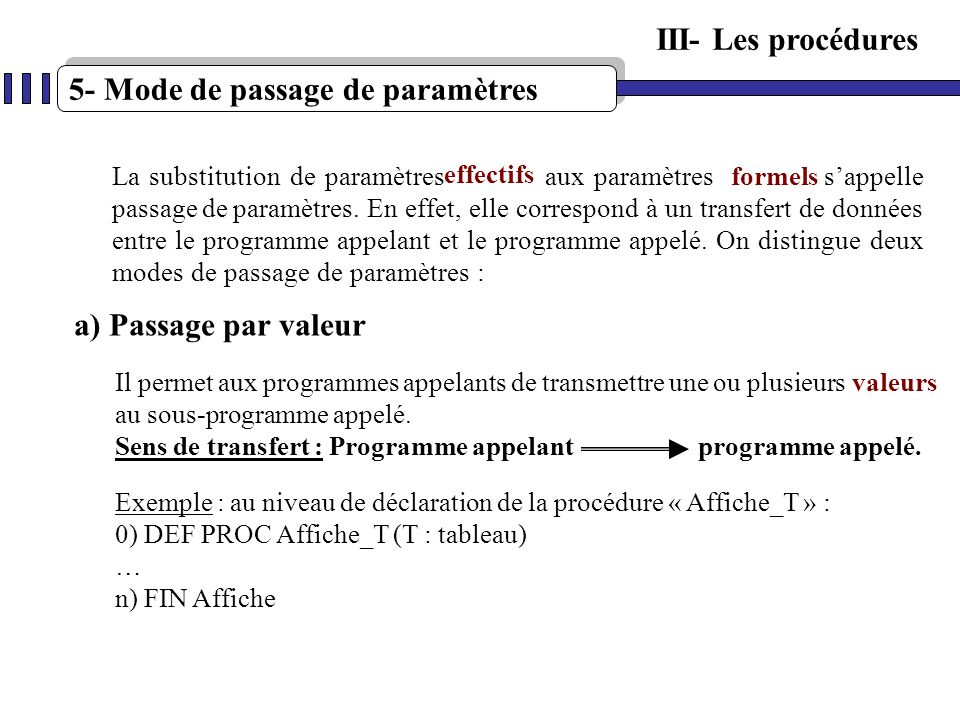5- Mode de passage de paramètres a) Passage par valeur La substitution de paramètres aux paramètres sappelle passage de paramètres. En effet, elle cor