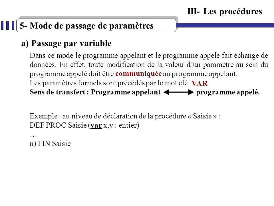 5- Mode de passage de paramètres a) Passage par variable Dans ce mode le programme appelant et le programme appelé fait échange de données. En effet,