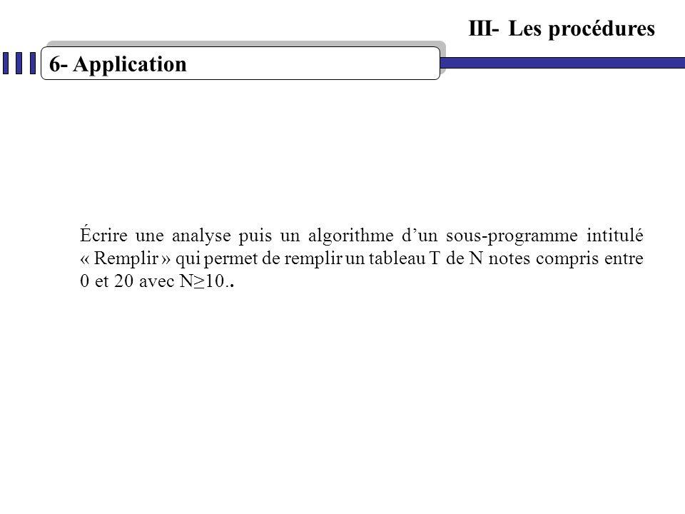 6- Application Écrire une analyse puis un algorithme dun sous-programme intitulé « Remplir » qui permet de remplir un tableau T de N notes compris ent