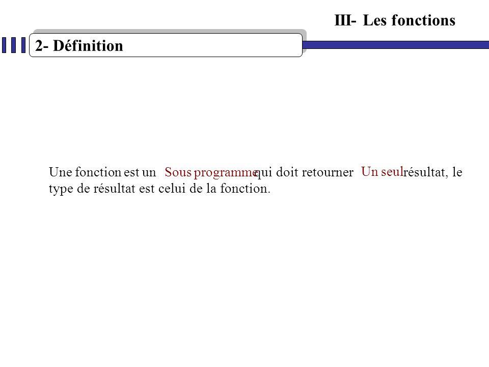 2- Définition III- Les fonctions Une fonction est un qui doit retourner résultat, le type de résultat est celui de la fonction. Sous programme Un seul