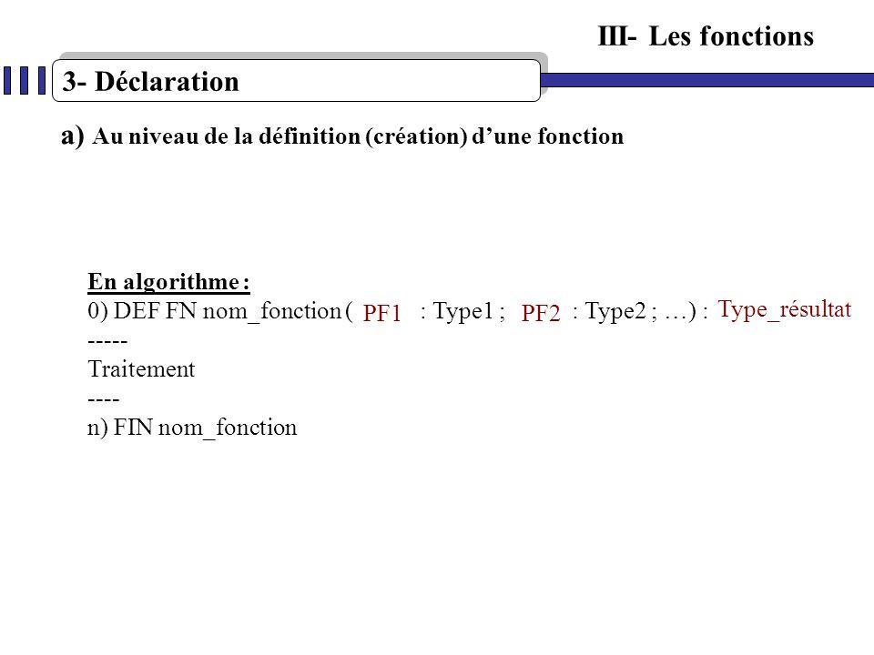 3- Déclaration III- Les fonctions a) Au niveau de la définition (création) dune fonction En algorithme : 0) DEF FN nom_fonction ( : Type1 ; : Type2 ;