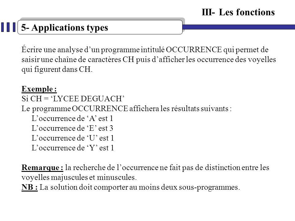 5- Applications types III- Les fonctions Écrire une analyse dun programme intitulé OCCURRENCE qui permet de saisir une chaîne de caractères CH puis da