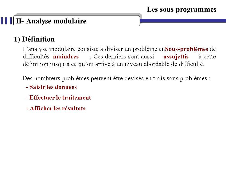 II- Analyse modulaire Les sous programmes Lanalyse modulaire consiste à diviser un problème en de difficultés. Ces derniers sont aussi à cette définit