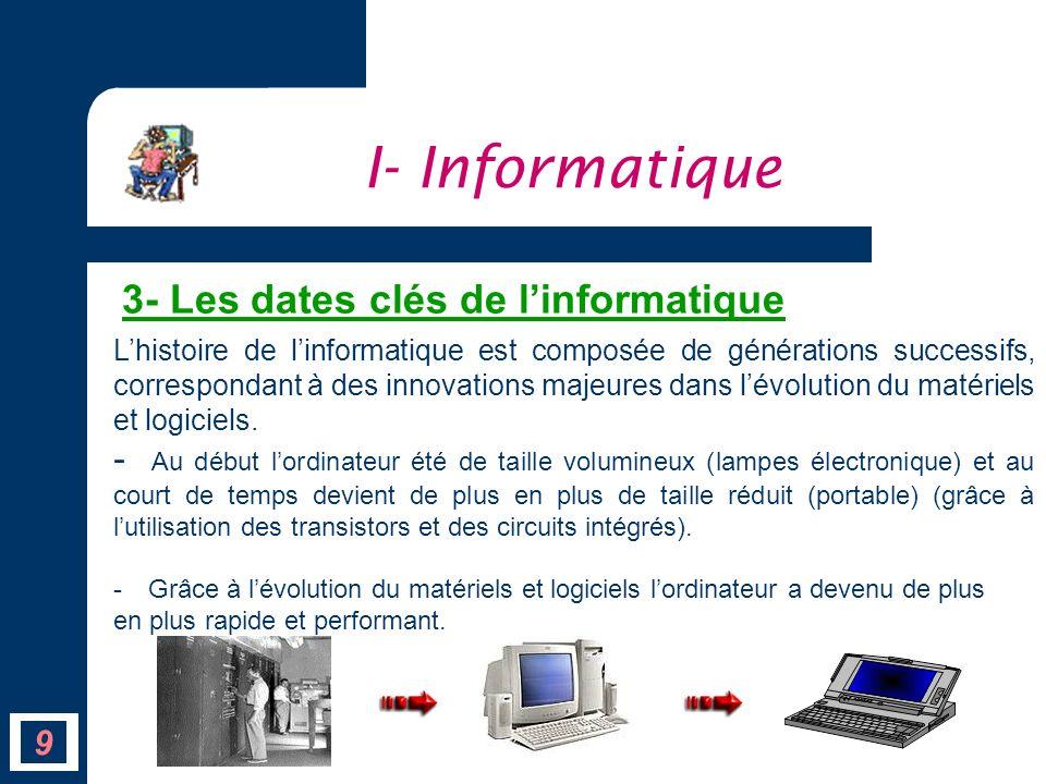 9 Lhistoire de linformatique est composée de générations successifs, correspondant à des innovations majeures dans lévolution du matériels et logiciel