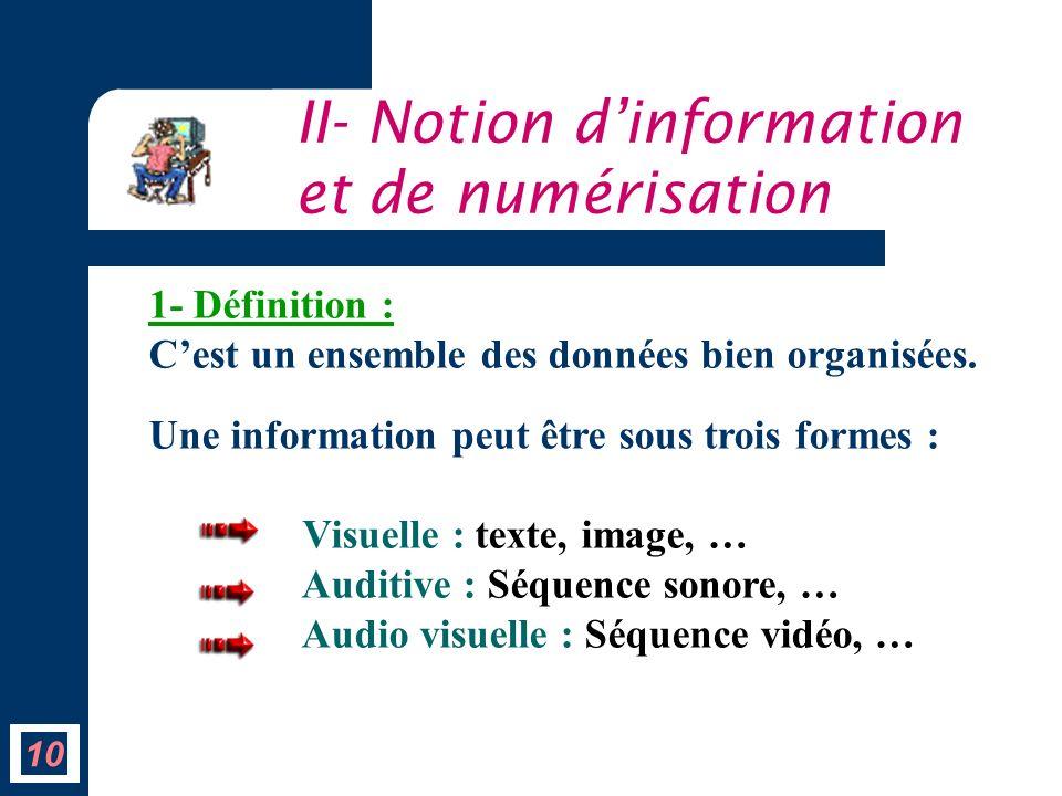 10 II- Notion dinformation et de numérisation 1- Définition : Cest un ensemble des données bien organisées. Une information peut être sous trois forme
