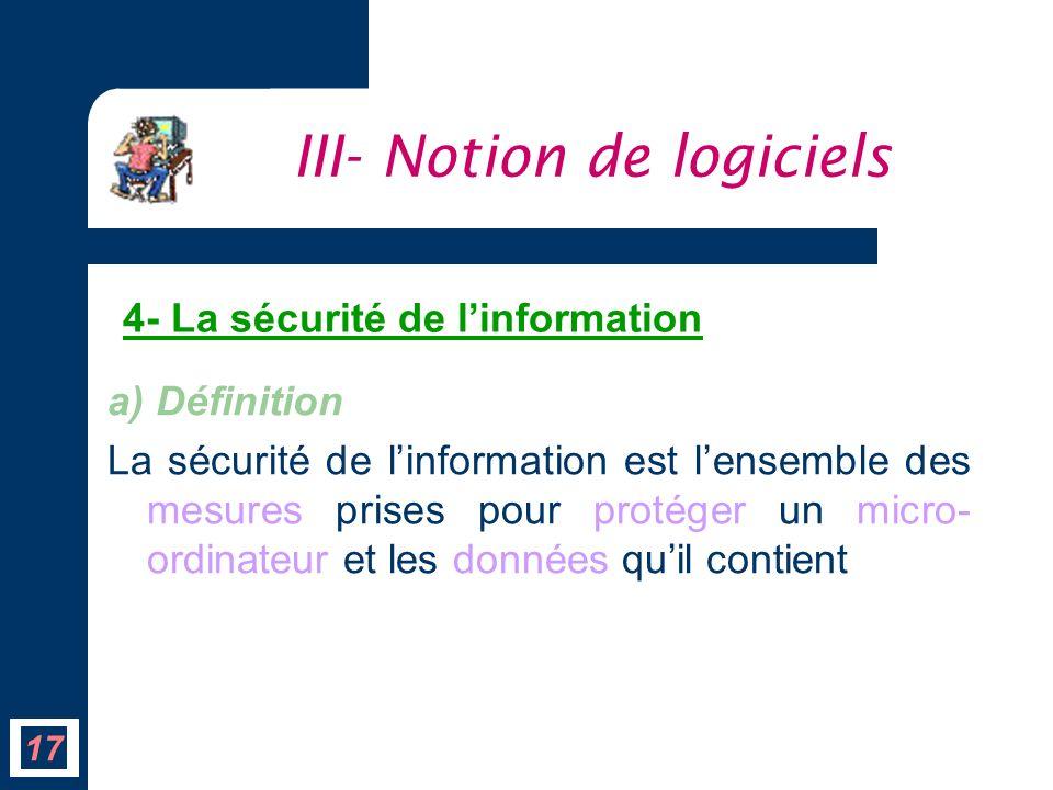 a) Définition La sécurité de linformation est lensemble des mesures prises pour protéger un micro- ordinateur et les données quil contient III- Notion