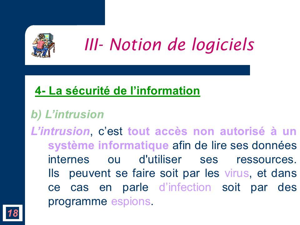 b) Lintrusion Lintrusion, cest tout accès non autorisé à un système informatique afin de lire ses données internes ou d'utiliser ses ressources. Ils p