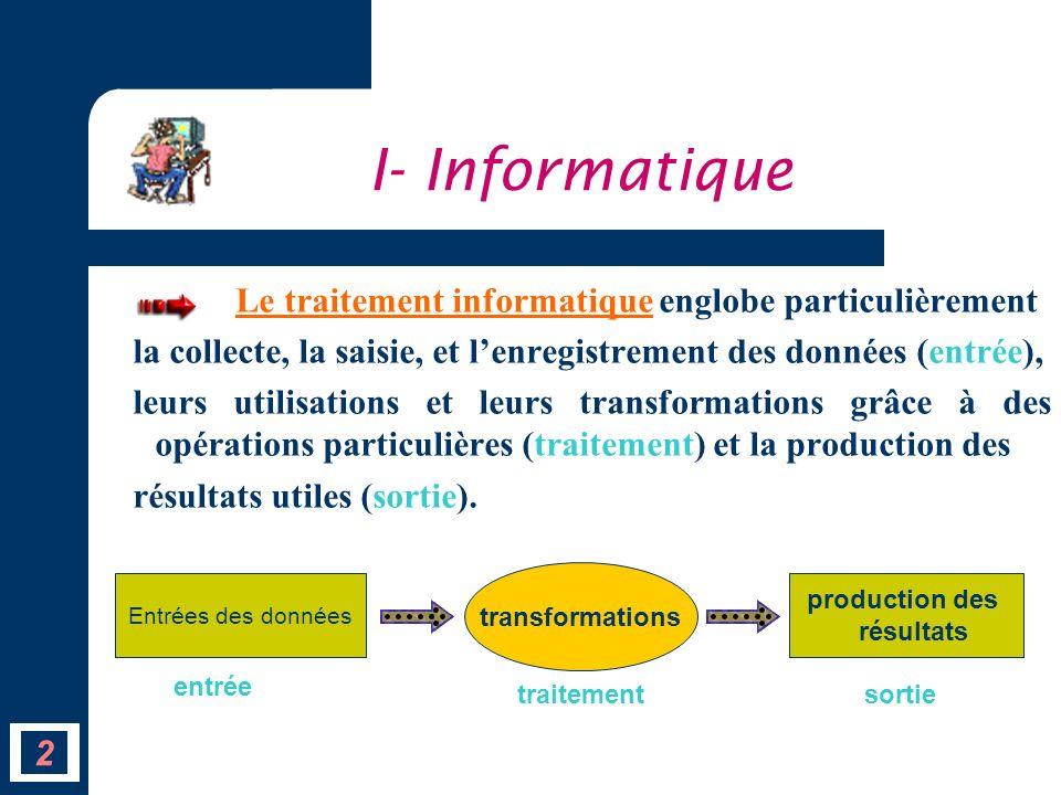 Le traitement informatique englobe particulièrement la collecte, la saisie, et lenregistrement des données (entrée), leurs utilisations et leurs trans