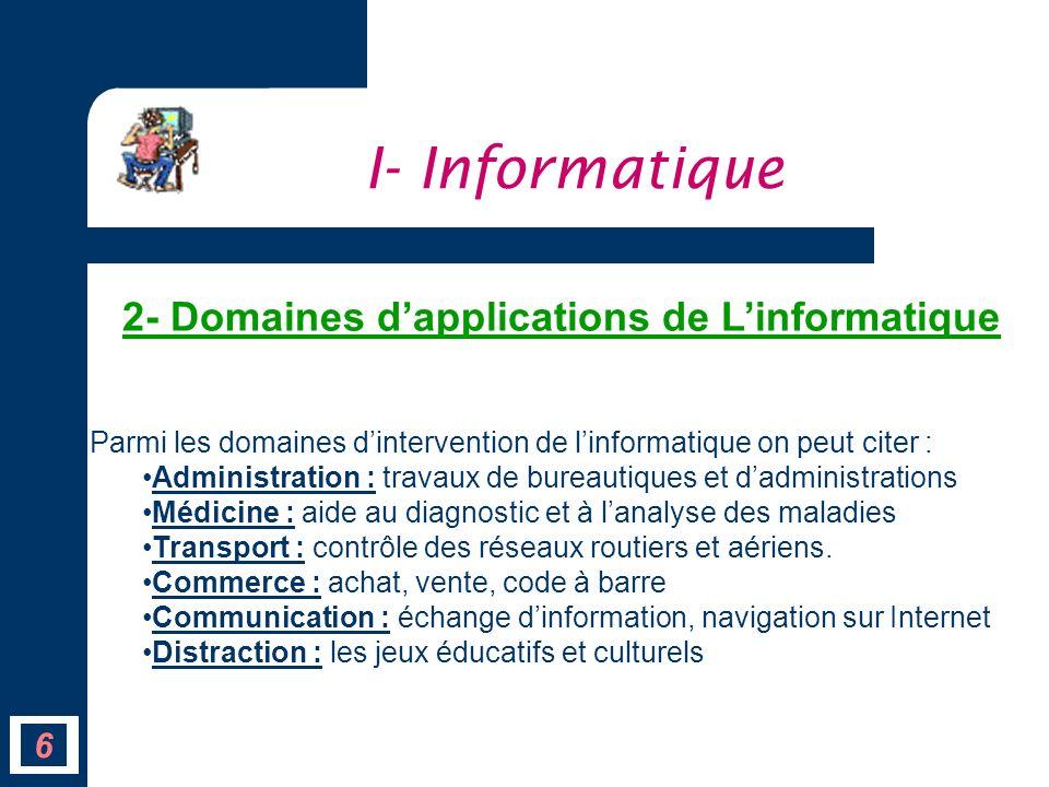 6 Parmi les domaines dintervention de linformatique on peut citer : Administration : travaux de bureautiques et dadministrations Médicine : aide au di