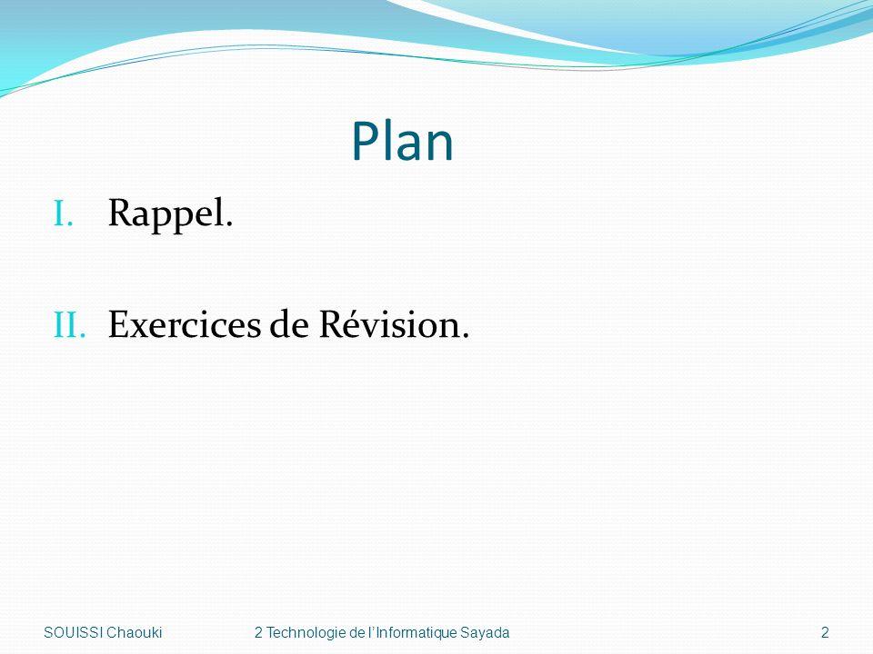 Plan I. Rappel. II. Exercices de Révision. SOUISSI Chaouki2 Technologie de lInformatique Sayada2