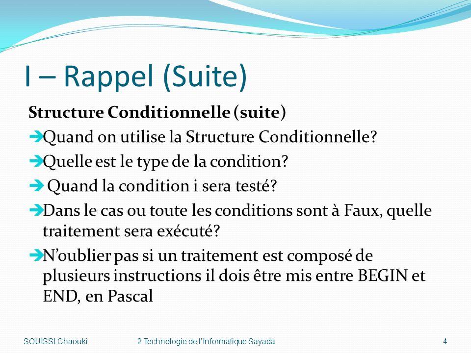 I – Rappel (Suite) Structure Conditionnelle à Choix Syntaxe de Structure Conditionnelle à Choix (en Pascal) CASE sélecteur OF liste_valeur_1: BEGIN Traitement 1; END; liste_valeur_2: BEGIN Traitement 2; END; ………………………………………………………………………………………… ELSE BEGIN Traitement N; END; SOUISSI Chaouki2 Technologie de lInformatique Sayada5