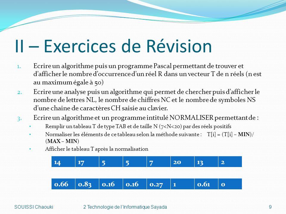 II – Exercices de Révision 1.