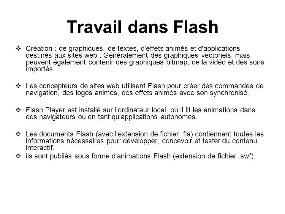 Travail dans Flash Création : de graphiques, de textes, d'effets animés et d'applications destinés aux sites web : Généralement des graphiques vectori