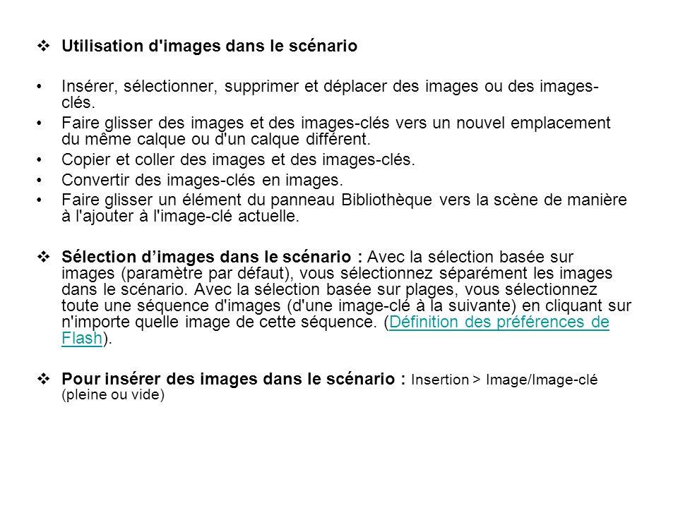 Utilisation d'images dans le scénario Insérer, sélectionner, supprimer et déplacer des images ou des images- clés. Faire glisser des images et des ima