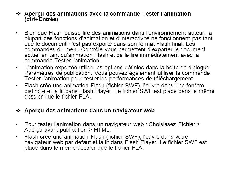 Aperçu des animations avec la commande Tester l'animation (ctrl+Entrée) Bien que Flash puisse lire des animations dans l'environnement auteur, la plup