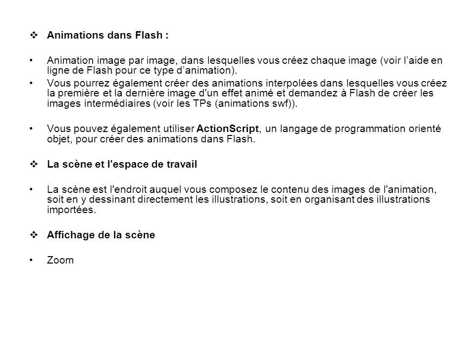 Animations dans Flash : Animation image par image, dans lesquelles vous créez chaque image (voir laide en ligne de Flash pour ce type danimation). Vou